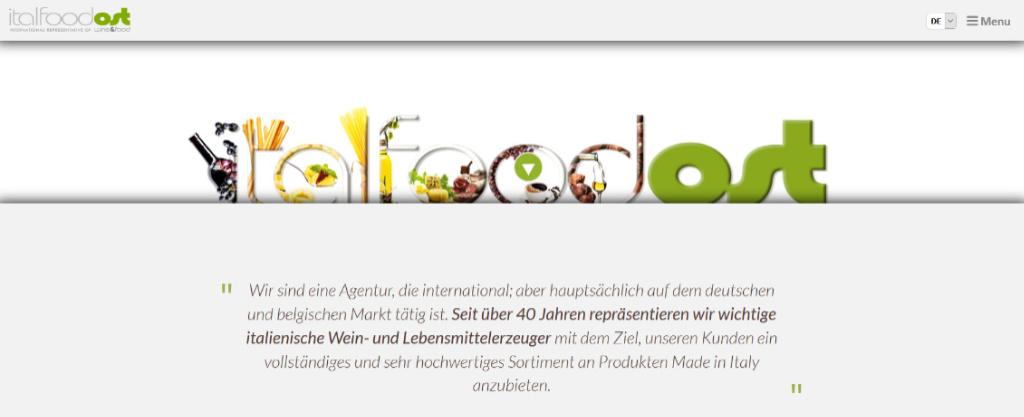 Screenshot del homepage del nuovo sito di ItalfoodOst in tedesco.