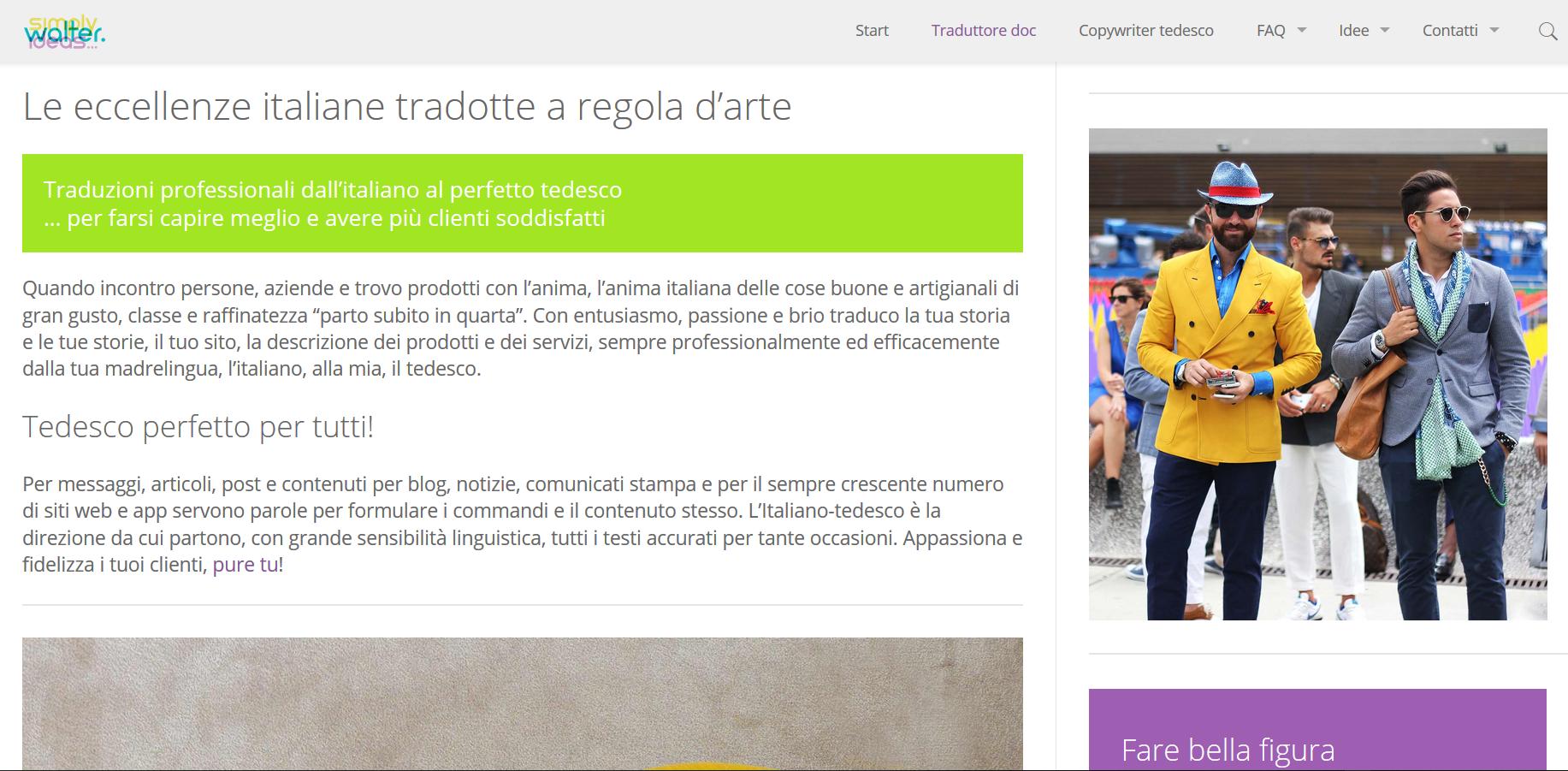 Screenshot della pagina traduttore doc del sito simply walter