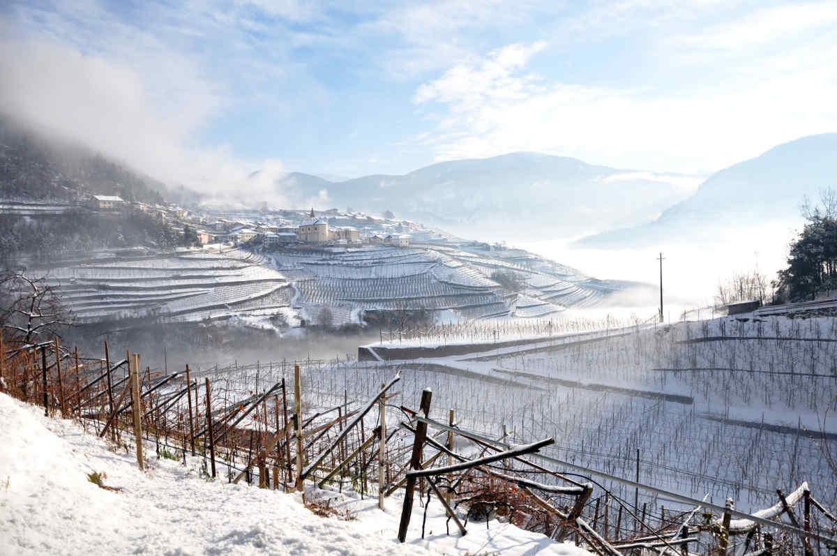 Paesaggio invernale in Val di Cembra. Foto: Luciano Lona