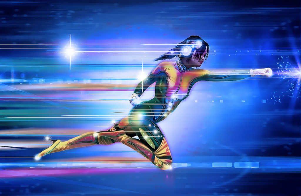 Una donna con le cuffie vola con forza e velocità tra lo spazio: Superhero della gig economy. Articolo su simplywalter.com di Katrin Walter (Foto: Pixabay)