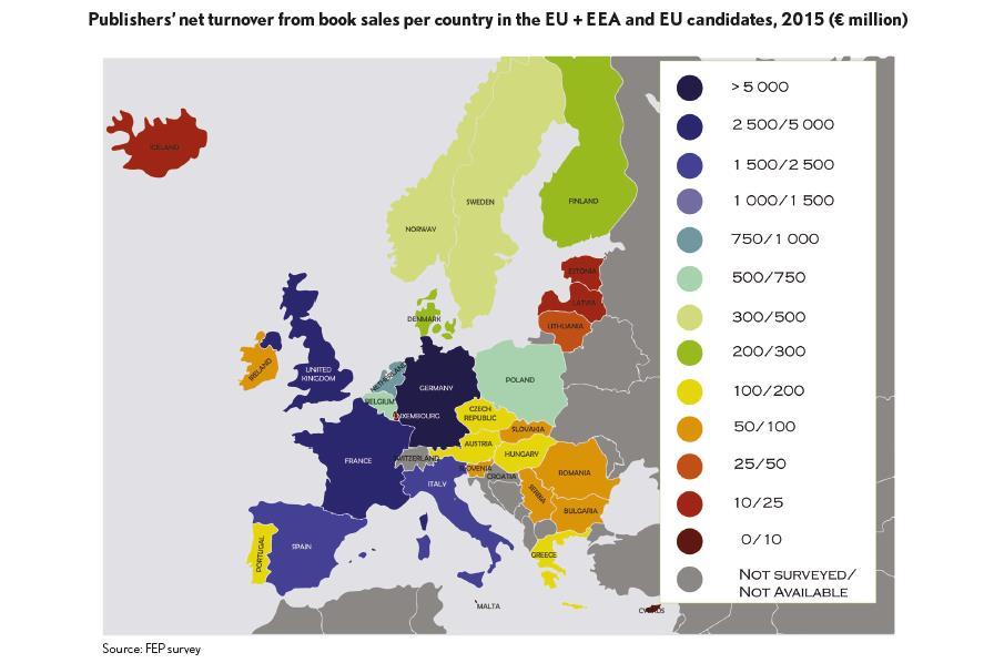Il giro d'affari con la vendita di libri per paese in Europa nell'anno 2015. Fonte dell'immagine: FED Federation of European Publishers